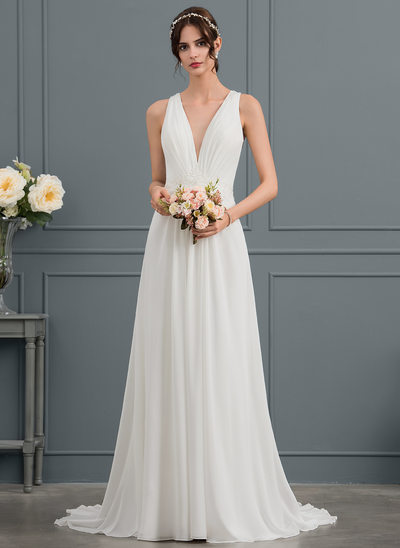 A-Line V-neck Sweep Train Chiffon Wedding Dress With Sequins