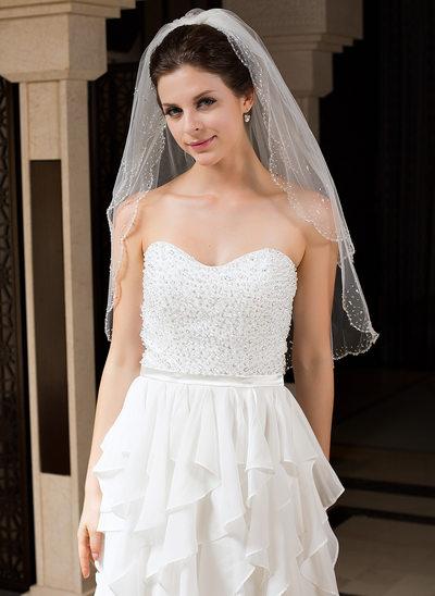 Zweischichtig Ellenbogen Braut Schleier mit Perlenbesetzter Saum