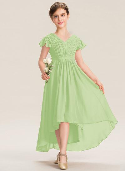 Трапеция V-образный асимметричный шифон Платье Юнных Подружек Невесты с Бант(ы) Ниспадающие оборки