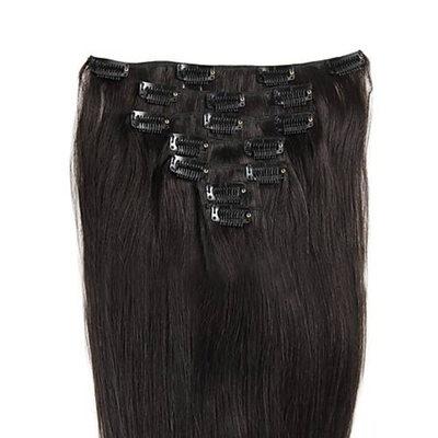 4A Non remy Прямо Человеческая прическа Волосы для наращивания с зажимами (Продается в одной части) 100г