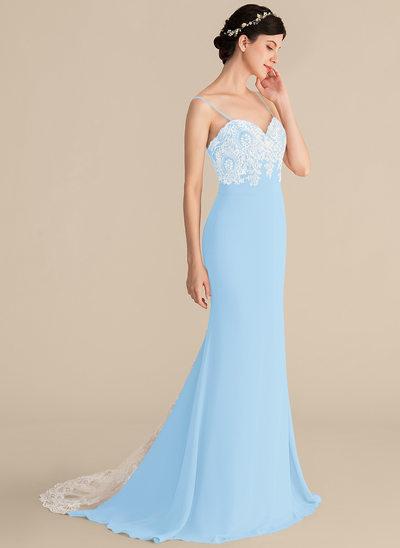 Trompete/Sereia Amada Sweep/Brush trem Tecido de seda Renda Vestido de baile