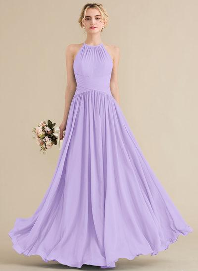 Vestidos princesa/ Formato A Decote redondo Longos Tecido de seda Vestido de madrinha com Pregueado
