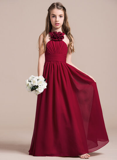 A-Line/Princess Halter Floor-Length Chiffon Junior Bridesmaid Dress With Ruffle Flower(s)