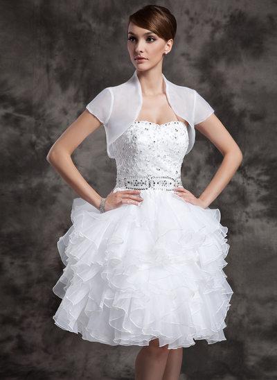 Kort ärm Organzapåse bröllop Bolerojackor