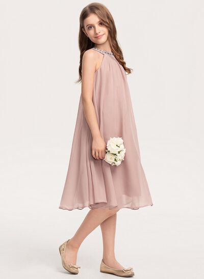 A-Line Scoop Neck Knee-Length Chiffon Junior Bridesmaid Dress With Beading Sequins