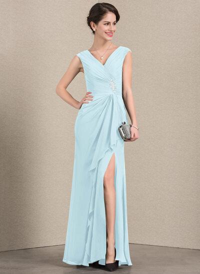 Vestidos princesa/ Formato A Decote V Longos Tecido de seda Vestido para a mãe da noiva com Beading Frente aberta Babados em cascata