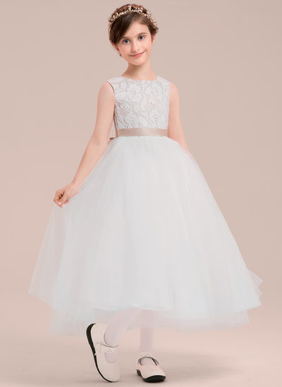 A-Line/Princess Ankle-length Flower Girl Dress - Satin/Tulle/Lace Sleeveless Scoop Neck