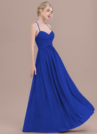 Çan/Prenses Sweetheart Uzun Etekli Şifon Mezuniyet Elbisesi Ile Büzgü