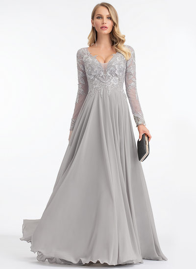 A-Line V-neck Sweep Train Chiffon Evening Dress
