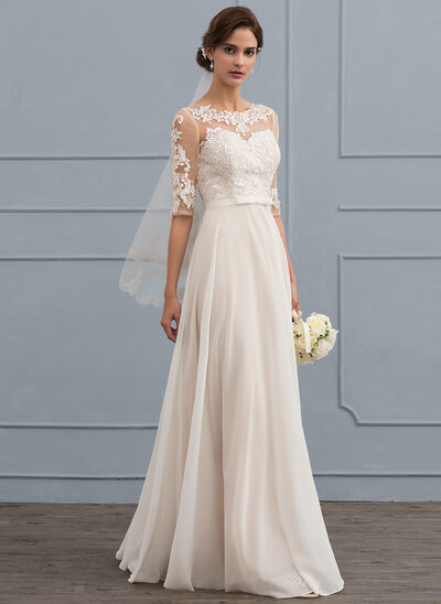 A-Line/Princess Scoop Neck Floor-Length Chiffon Wedding Dress With Beading Sequins Bow(s)