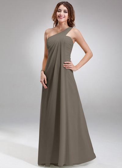 Empire-tyylinen Yksiolkaiminen Lattiaa hipova pituus Sifonki Morsiusneitojen mekko jossa Rypytys
