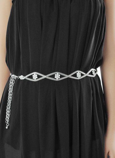 Elegante Aleación Cinturón con Diamantes de imitación