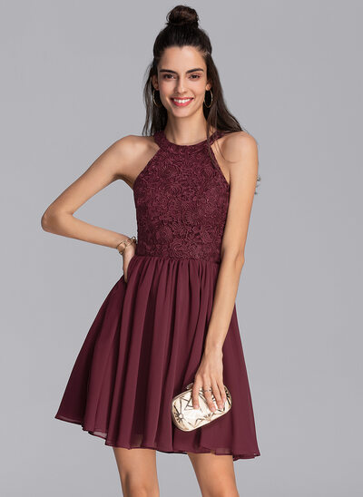 A-Line Scoop Neck Short/Mini Chiffon Cocktail Dress