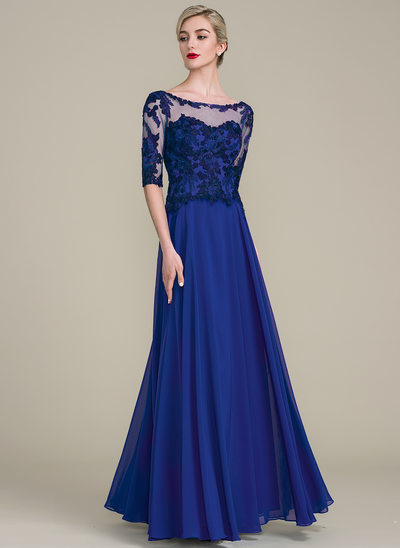 A-Line/Princess Scoop Neck Floor-Length Chiffon Lace Mother of the Bride Dress