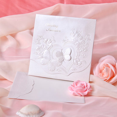 Perhonen tyyli Tri-Fold Invitation Cards