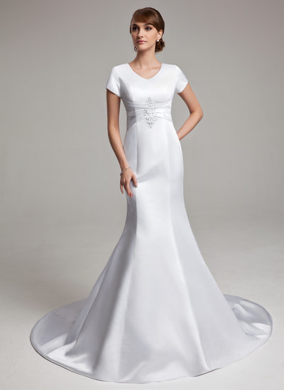 Trumpet/Mermaid V-neck Chapel Train Satin Wedding Dress With Ruffle Appliques Lace