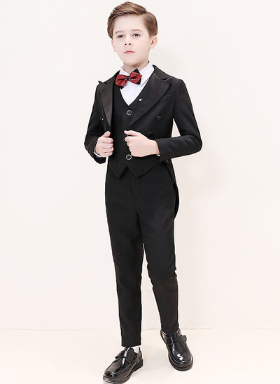 Boys 6 Pieces Elegant Ring Bearer Suits /Page Boy Suits With Jacket Shirt Vest Pants Bow Tie Pocket Square