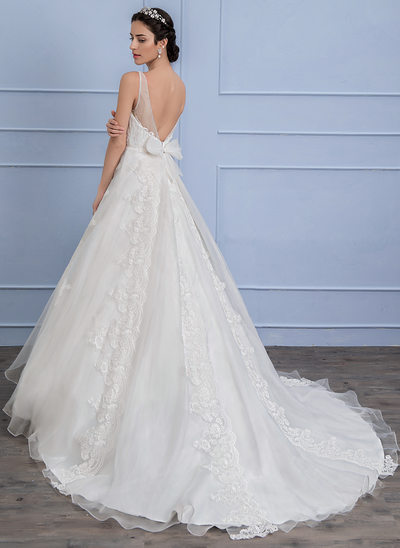 Ball-Gown V-neck Sweep Train Organza Lace Wedding Dress With Bow(s)