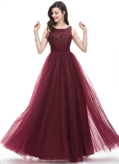 A-Line/Princess Square Neckline Floor-Length Tulle Prom Dresses With Ruffle Sequins Bow(s)