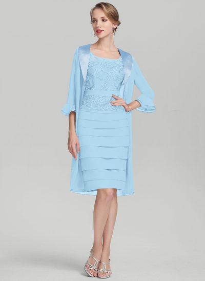 Etui-Linie U-Ausschnitt Knielang Chiffon Spitze Kleid für die Brautmutter mit Rüschen