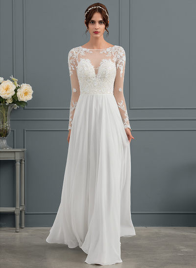 A-Line/Princess Scoop Neck Floor-Length Chiffon Wedding Dress With Beading