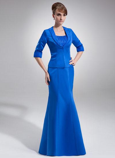 Yüksek Bel Yuvarlak Yaka Uzun Etekli Organza Satin Gelin Annesi Elbisesi Ile Büzgü Boncuklama