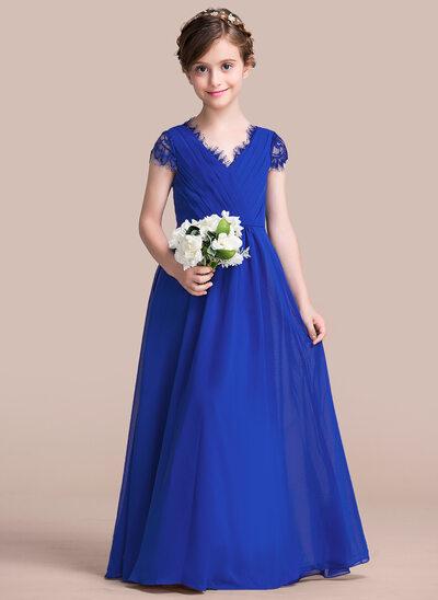A-Line/Princess V-neck Floor-Length Chiffon Junior Bridesmaid Dress With Ruffle Lace Bow(s)
