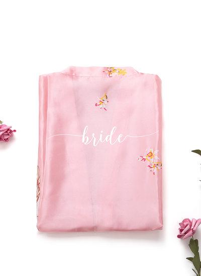 Niet-persoonlijke charmeuse Bruid Bruidsmeisje mam Junior bruidsmeisje Floral gewaden Geborduurde gewaden