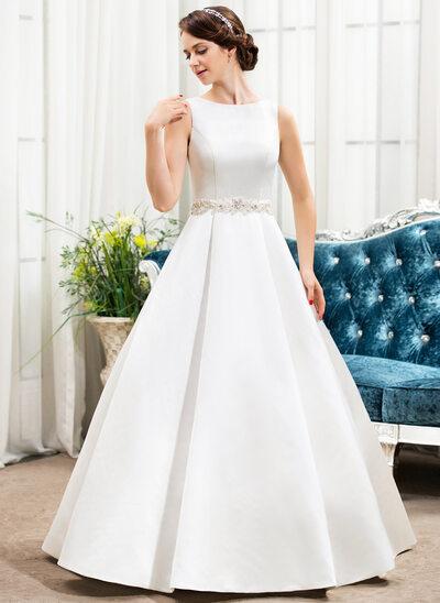 Balo Elbisesi Yuvarlak Yaka Uzun Etekli Saten Gelinlik Ile boncuklu kısım Payetler