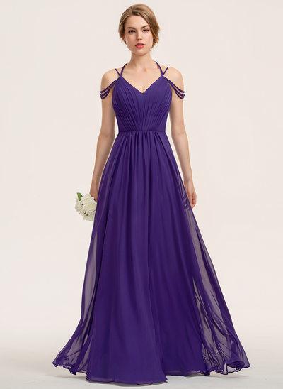 Трапеция V-образный Длина до пола шифон Платье Подружки Невесты с Рябь
