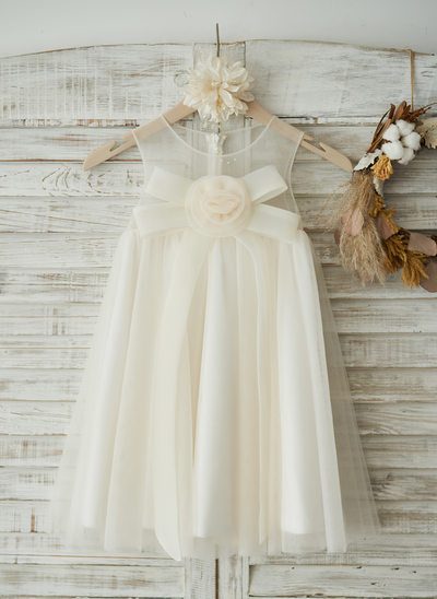 Princesový Po kolena Flower Girl Dress - Tyl Bez rukávů Scoop Neck S Květiny/Luk