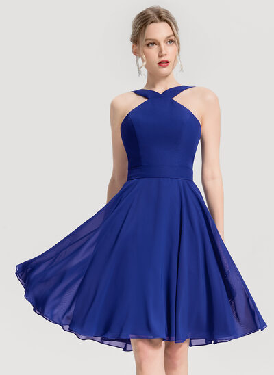 A-Line/Princess V-neck Knee-Length Chiffon Cocktail Dress