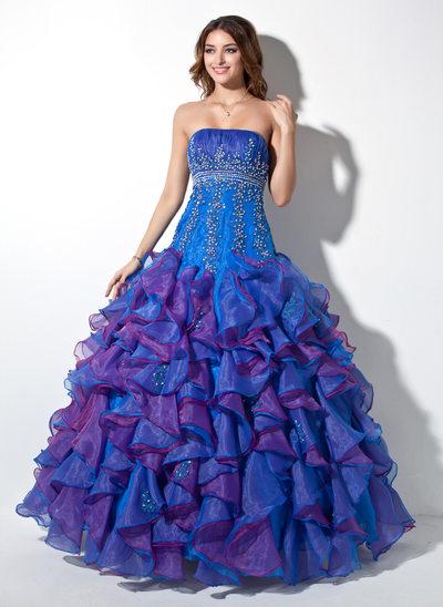 Duchesse-Linie Trägerlos Bodenlang Organza Quinceañera Kleid (Kleid für die Geburtstagsfeier) mit Perlstickerei Applikationen Spitze Pailletten Gestufte Rüschen