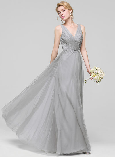 Çan/Prenses V yaka Uzun Etekli Tül Nedime Elbisesi Ile Büzgü boncuklu kısım