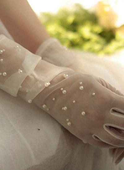 Tule/Imitatie Parel Wrist Lengte Bruids Handschoenen