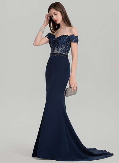 Trumpet/Mermaid Off-the-Shoulder Sweep Train Satin Prom Dress With Beading Sequins