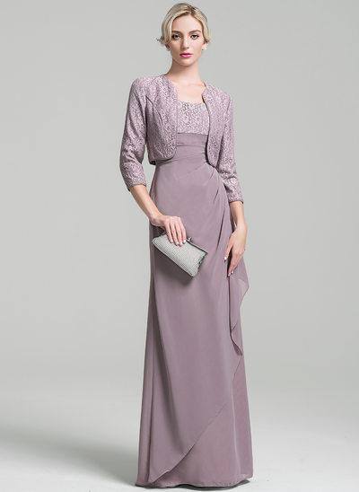 Sheath/Column Scoop Neck Floor-Length Chiffon Mother of the Bride Dress With Ruffle Cascading Ruffles