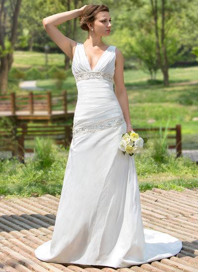 A-Linie/Princess-Linie V-Ausschnitt Hof-schleppe Taft Brautkleid mit Rüschen Perlen verziert Pailletten