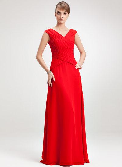 Çan/Prenses V Yaka Uzun Etekli Şifon Gelin Annesi Elbisesi Ile Büzgü