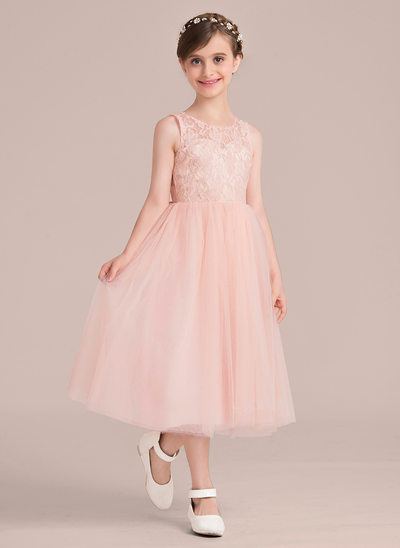A-Line/Princess Scoop Neck Tea-Length Junior Bridesmaid Dress With Beading Bow(s)