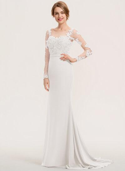 Trumpet/Mermaid Scoop Neck Sweep Train Chiffon Lace Prom Dresses