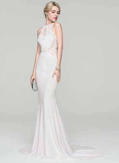 Trumpet/Mermaid Scoop Neck Sweep Train Jersey Wedding Dress With Beading Sequins
