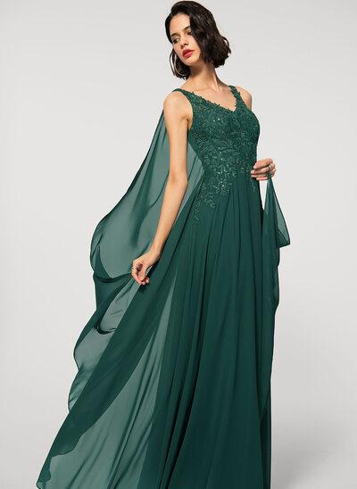 Corte A Decote V Longos Tecido de seda Renda Vestido de festa com lantejoulas