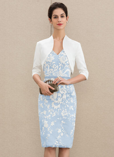 Sheath/Column V-neck Knee-Length Lace Mother of the Bride Dress With Beading Sequins