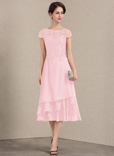 A-Linie/Princess-Linie U-Ausschnitt Wadenlang Chiffon Spitze Kleid für die Brautmutter