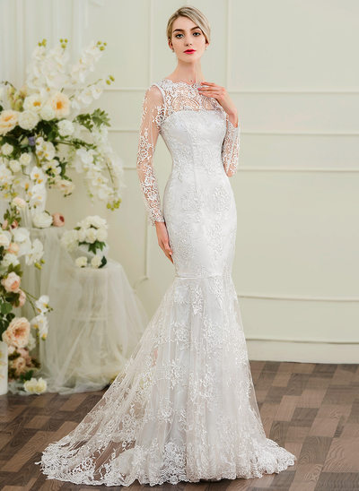 Trumpet/Mermaid Illusion Sweep Train Lace Wedding Dress