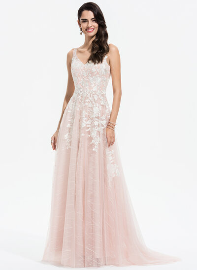 A-Line V-neck Sweep Train Tulle Evening Dress With Lace