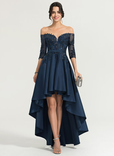 A-Line/Princess Off-the-Shoulder Asymmetrical Satin Prom Dresses With Sequins