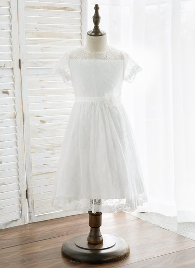 A-Line/Princess Knee-length Flower Girl Dress - Lace Short Sleeves Scoop Neck