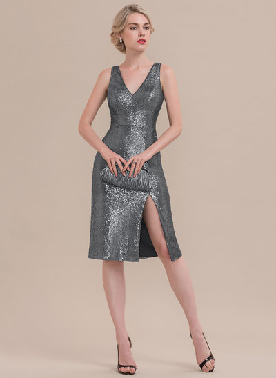 Sheath/Column V-neck Knee-Length Sequined Cocktail Dress With Split Front